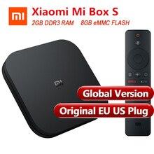 Глобальная версия оригинальная Xiaomi mi коробка S Smart tv Box 4 Android 8,1 4 к четырехъядерный 2 ГБ 8 ГБ HD mi 2,4 г 5,8 Г WiFi Bluetooth 4,2 ТВ коробка