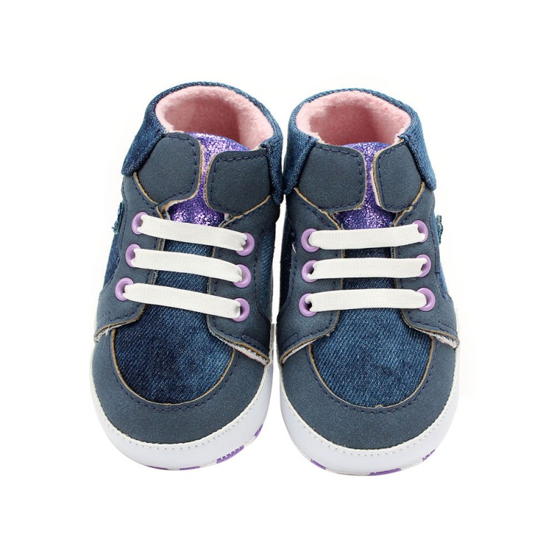 Kacakid New Blue European And American Casual Style Baby Toddler Shoes Fashion Cowboy High-Top Shoes