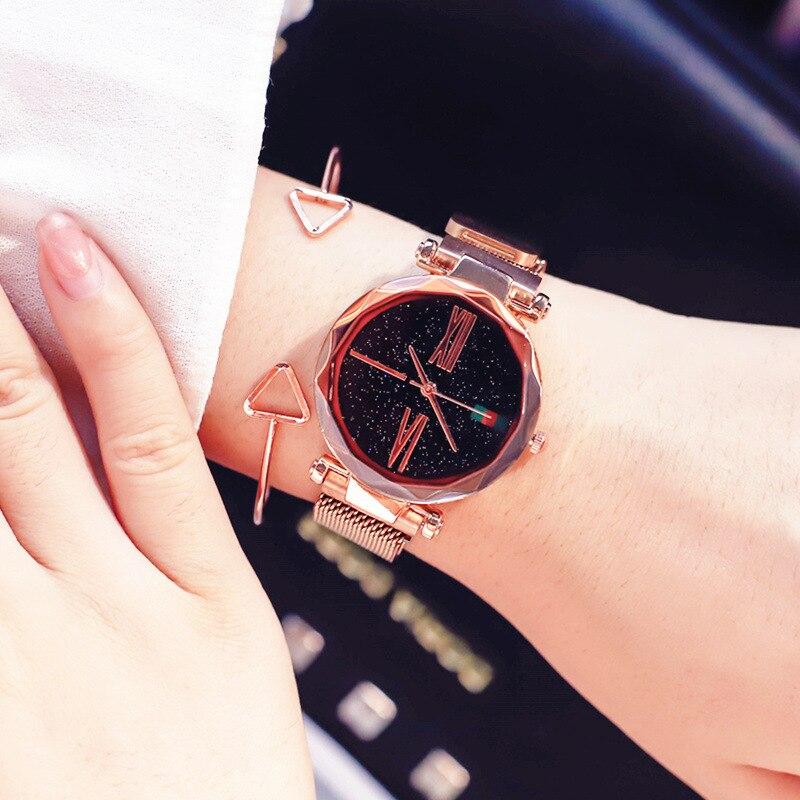 Cielo estrellado cielo diseñador de las mujeres relojes de correa de malla de acero inoxidable relojes de pulsera nueva zegarek damski relogio femenino