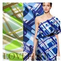 Luxury True Blue And Green Geometric Silkworm Silk Satin Fabric Dyeing DIY Summer Haute Couture Wide