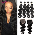 8A Grade Peruvian Body Wave Hair Bundles With Lace Closure Peruvain Virgin Hair With Closure 4 Human Hair Weave With Closure HC
