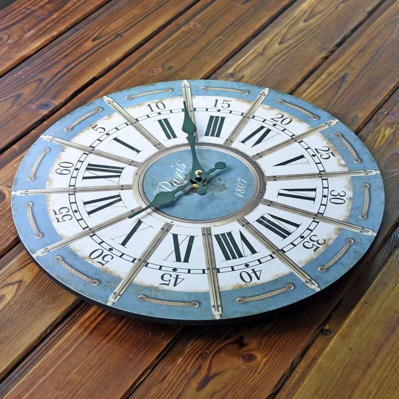 Klasik Pastoral Jam Dinding Kayu Dekoratif Hiasan Dinding Jam Kreatif Eropa  Vintage Roma Pola Home Decor 652d6f67a5