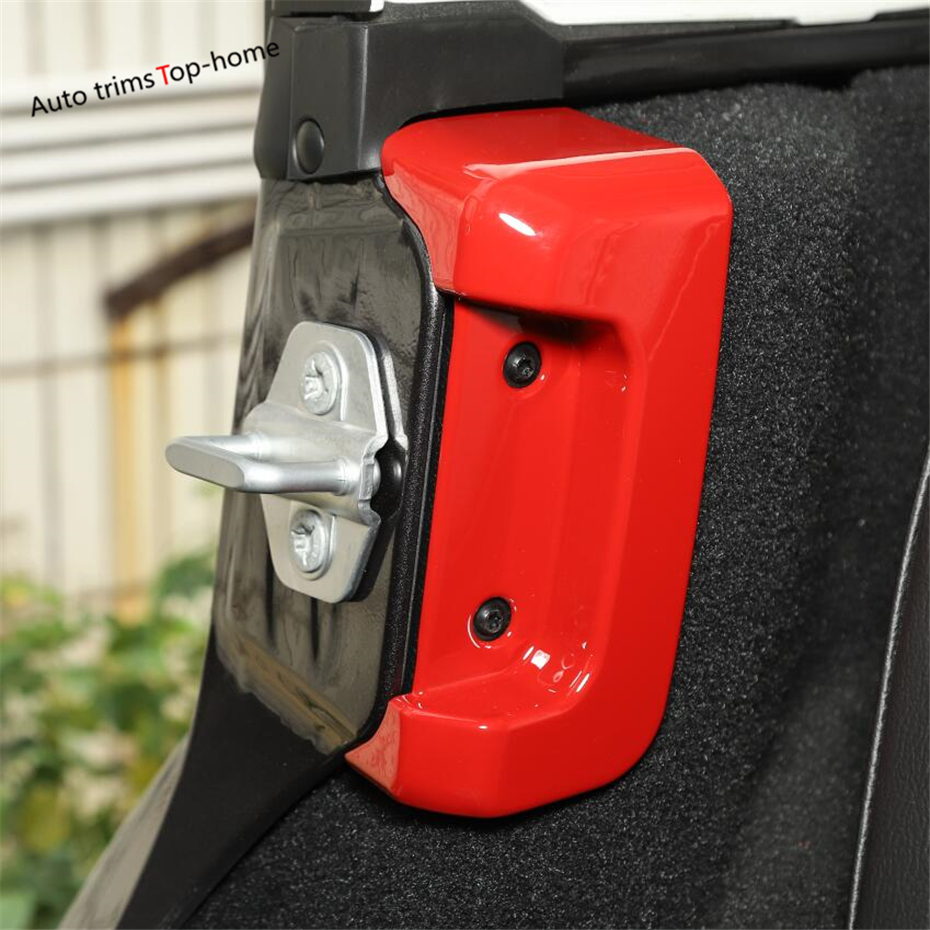2*Car Rear Door Lock Protection Cover Protector Buckle For Jeep Wrangler JL Red