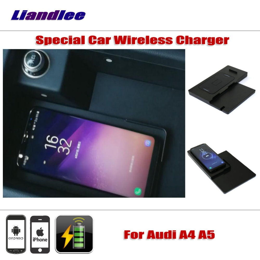 Liandlee для Audi A4 A4L B9/8 W A5 F5 специальное скрытое автомобильное беспроводное зарядное устройство для хранения для IPhone Android Iphone зарядное устройств