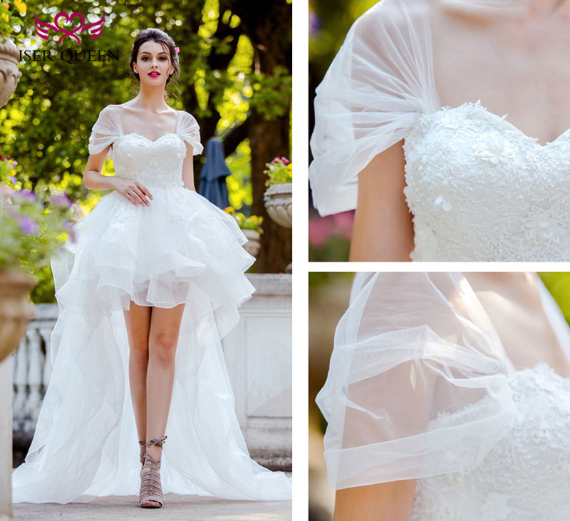 Fashion Low/high Short Wedding Dress  Lace Appliques With Pearls Beads Cap Sleeve Beach Wedding Dresses WX0090