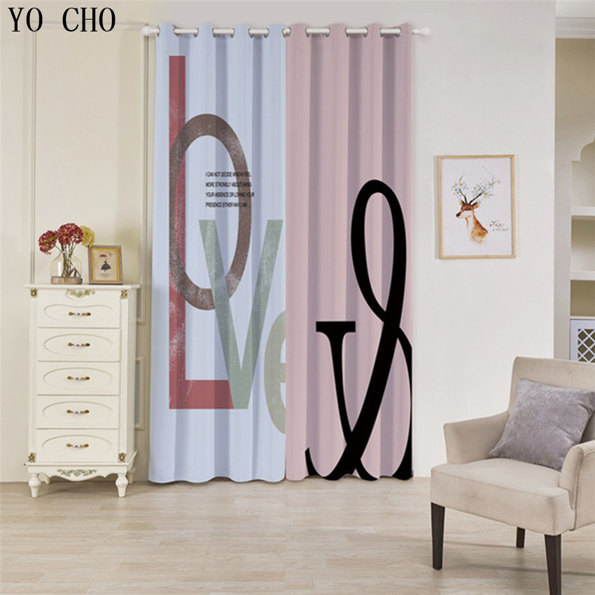 US $69.79 35% OFF|YO CHO Letters, fruits, beaches sheer curtains blackout  curtains for the bedroom tende cucina children/boys curtains curtains-in ...