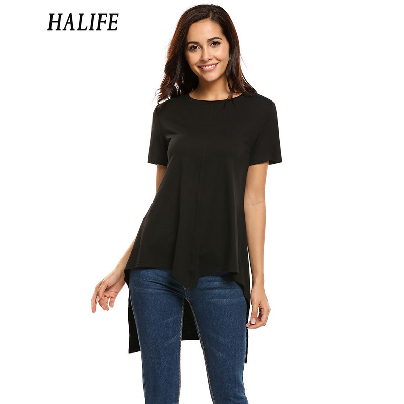 HALIFE Summer Long Tunic Tops For Women Fashion Short Sleeve High Low Asymmetry Hem Tee Shirt Femme Long T-Shirt Free Shiping 40