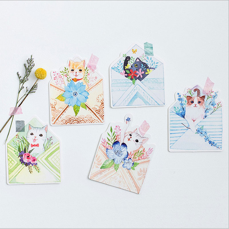 €1050000 Bespaart 30 pcs lot envelope cat postcard heteromorphism greeting card christmas card