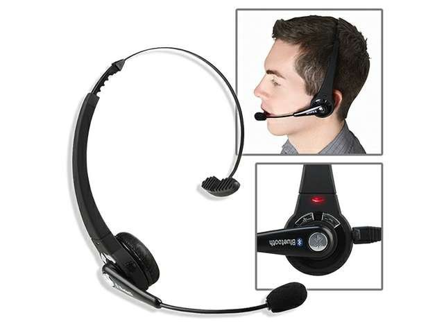 Mono Wireless Bluetooth Headset Headphones Multipoint Noise Canceling with Mic Handsfree for PC PS3 Gaming Mobile Phone Laptop
