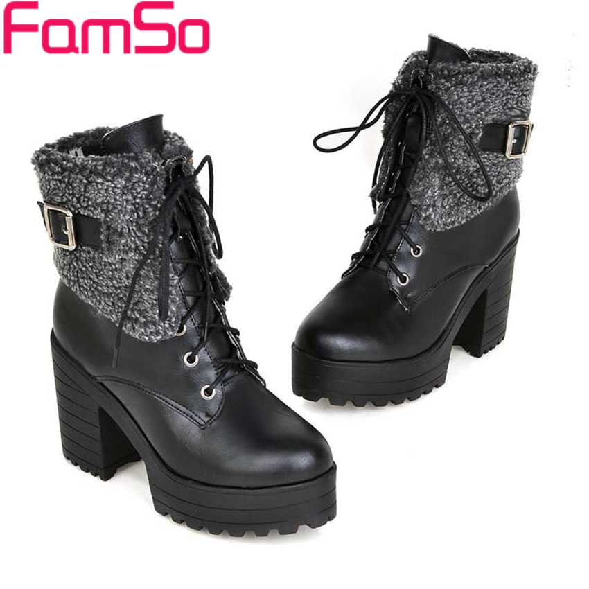 Plus Size34 43 2016 new Sexy font b Women b font boots Buckle High Thick Heels