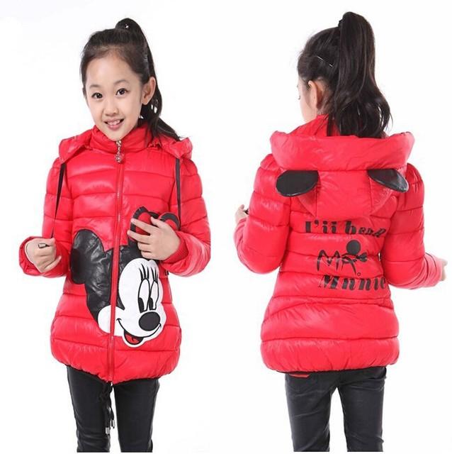 2016 Crianças Minnie Inverno Avisar Grosso Brasão & Jacket, Baby Meninas Dos Desenhos Animados Minnie Jacket & casacos Crianças Roupas de Inverno para 2-7Yrs