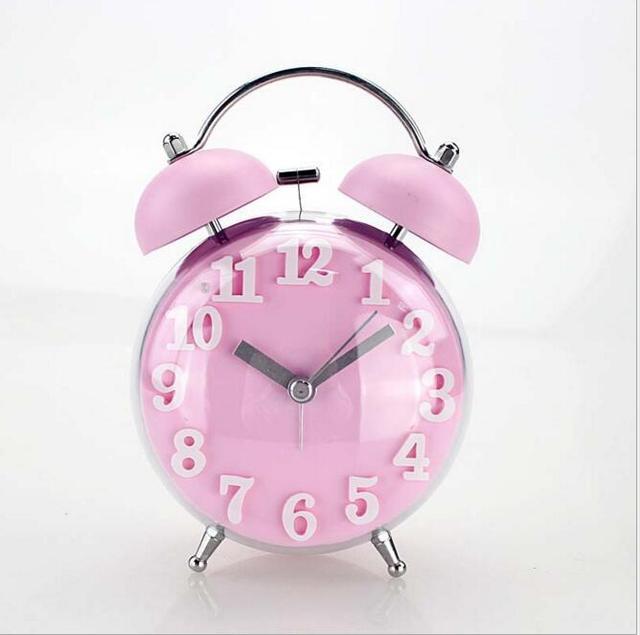 Candy Color Alarm Clock Double Bell Silent Clock Quartz Movement Decorative  Table Clock Kids Night Desk
