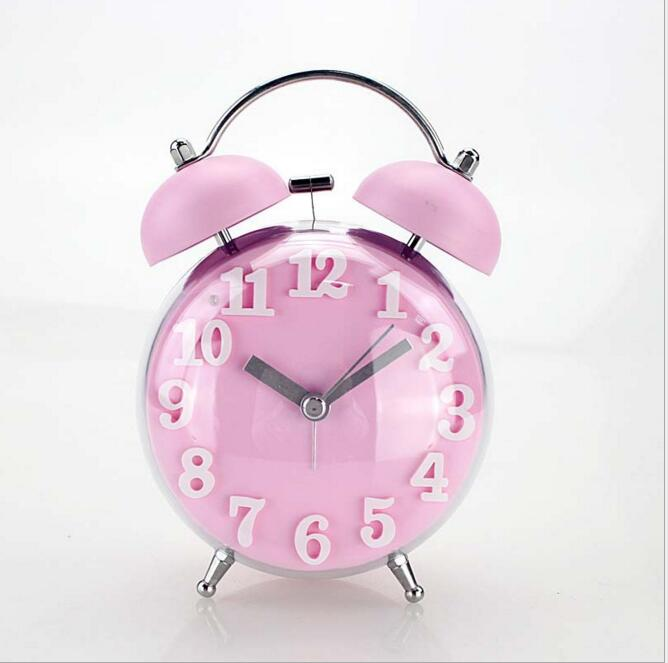 Candy Color Alarm Clock Double Bell Silent Clock Quartz Movement Decorative  Table Clock Kids Night Desk