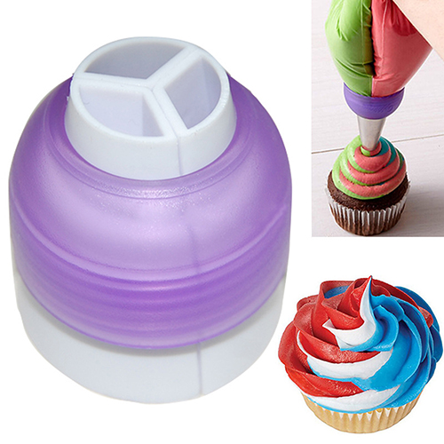 1pc Icing Piping Bag Nozzle Converter Cupcake 3 Hole 3 Color Cream Couple Fondant Cookie Decoration Cake Decorating Tool