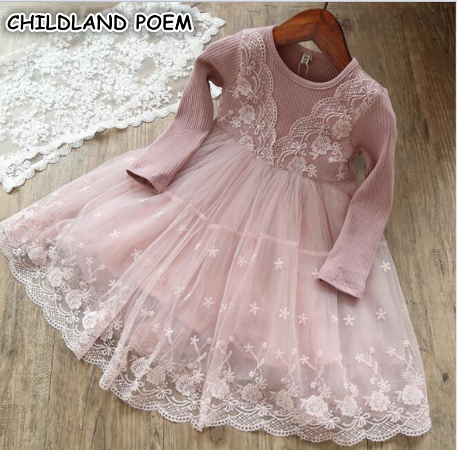 Girls Dress 2018 Spring Long Sleeve Princess Kids Dress For Girls Cotton Lace Party Weeding Girl Dress Easter Children Clothing girls white lace dress 6 16y teen girls dress long sleeve princess dress for kids girls spring autumn children dress