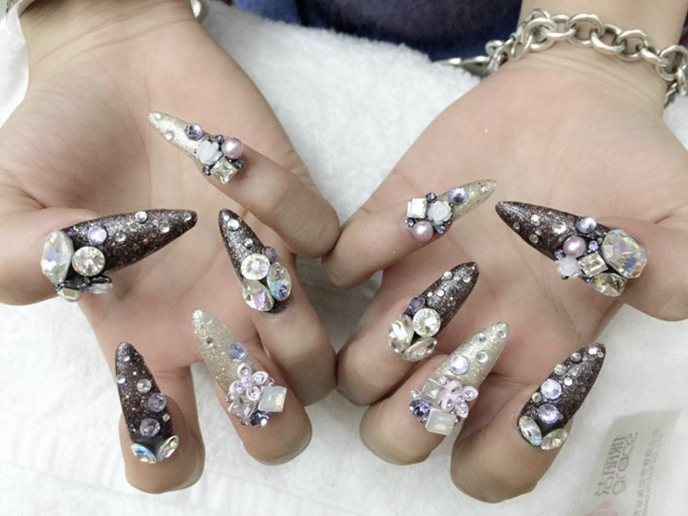 10pcs/lot Heart AB Shiny Nail Art Rhinestone Crystal Glitter Nail ...
