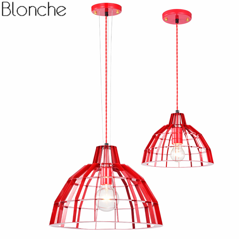 Modern Industrial Pendant Lights LED Hanging Lamp Dining Room Kitchen Home Decor Lamp Red Simple Metal Loft Fixtures LuminaireModern Industrial Pendant Lights LED Hanging Lamp Dining Room Kitchen Home Decor Lamp Red Simple Metal Loft Fixtures Luminaire