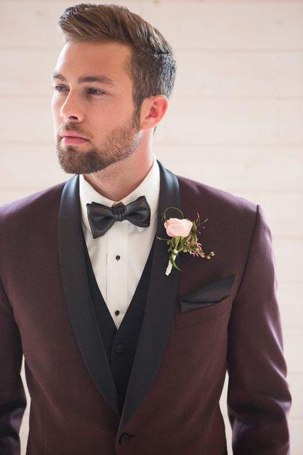 Burgundy Tuxedo For Men Notch Lapel Slim Fit Groomsmen Tuxedos Groom Wedding Suits Jacket