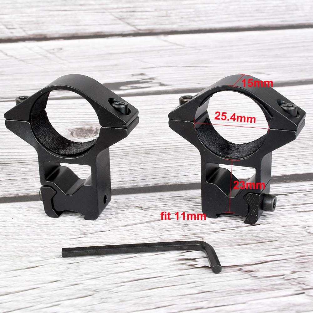 Anillo de montaje para mira telescópica de 2 uds. De 30mm/25mm, adaptador de cola de milano de 11 a 20mm, perfil alto y bajo para Rifle Weaver, montura para caza