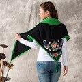 Bordado étnico Bufanda Mujeres Chal De Algodón Vestido Señoras de La Bufanda Del Triángulo Del Estilo Chino Del Cabo Wraps Cabo Poncho Borlas Kimono