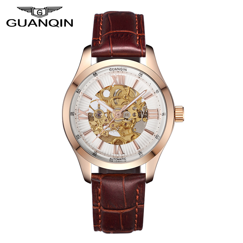 GUANQIN Automatic Mechanical Watches, Luminous Leather Waterproof Men Watch, Skeleton Gold Watch Men High Quality Wristwatches цена 2017
