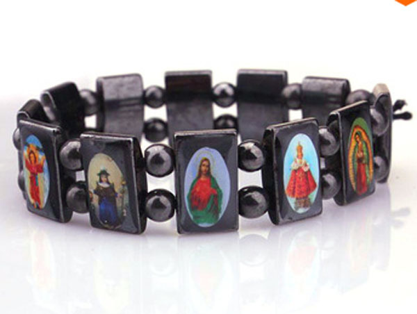 (Min order $15) High Quality Rosary Jesus Saints Icon Magnetic Hematite Beads Bracelet each with individual package