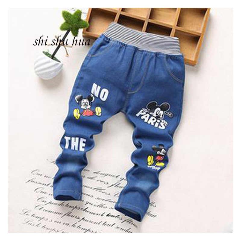 Erkek bebek kız giysileri kot moda karikatür baskı çizgili ekose rahat pantolon bebek çocuk giyim 2-5years eski çocuk giyim