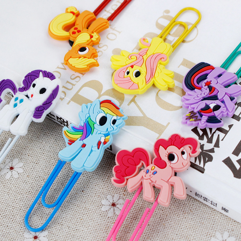 1pcs Rainbow Horse Paper Clip Silicone Material Escolar Bookmarks For Books Stationery School Supplies Papelaria Child Gift