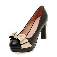 DoraTasia Big Size 32-43 Fashion Women Sweet Bowtie Shoes Party Wedding Dress Square High Heels Round Toe Platform Shoes