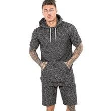 Fashion Men Casual Short Sleeve Sweatshirts Hoodies Gyms Fitness men Bodybuilding Clothing Sportswear Hoodie
