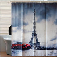 Vintage Eiffel Tower Flower Waterproof Shower Curtain Polyester Fabric Bathing Bathroom Curtains with Hooks Home Decorations