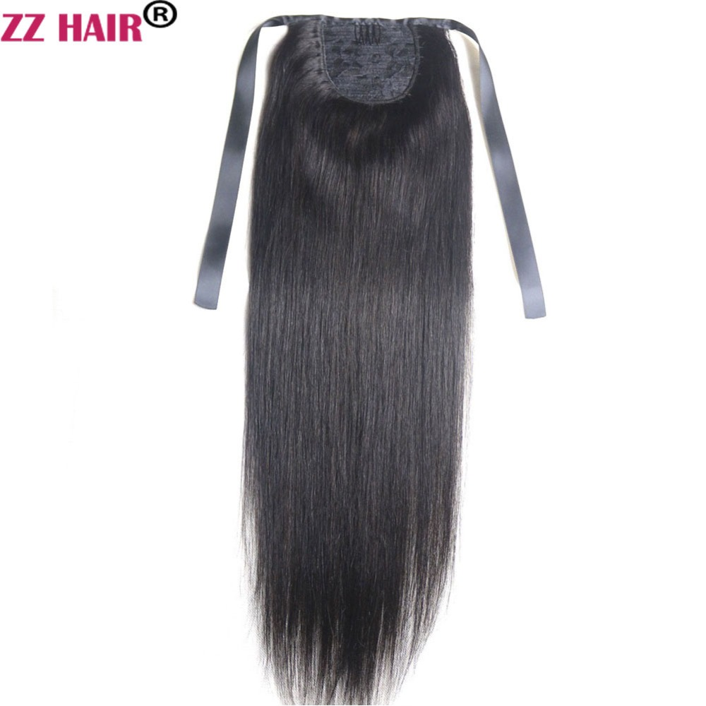Hair Pieces Zzhair 100g 16-26 Machine Made Remy Hair Ribbon Ponytail Clips-in Human Hair Extensions Horsetail Natural Straight Hair