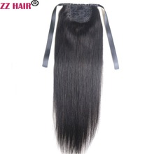 ZZHAIR 100g 16″-26″ Machine Made Remy Hair Ribbon Ponytail Clips-in Human Hair Extensions Horsetail Natural Straight Hair