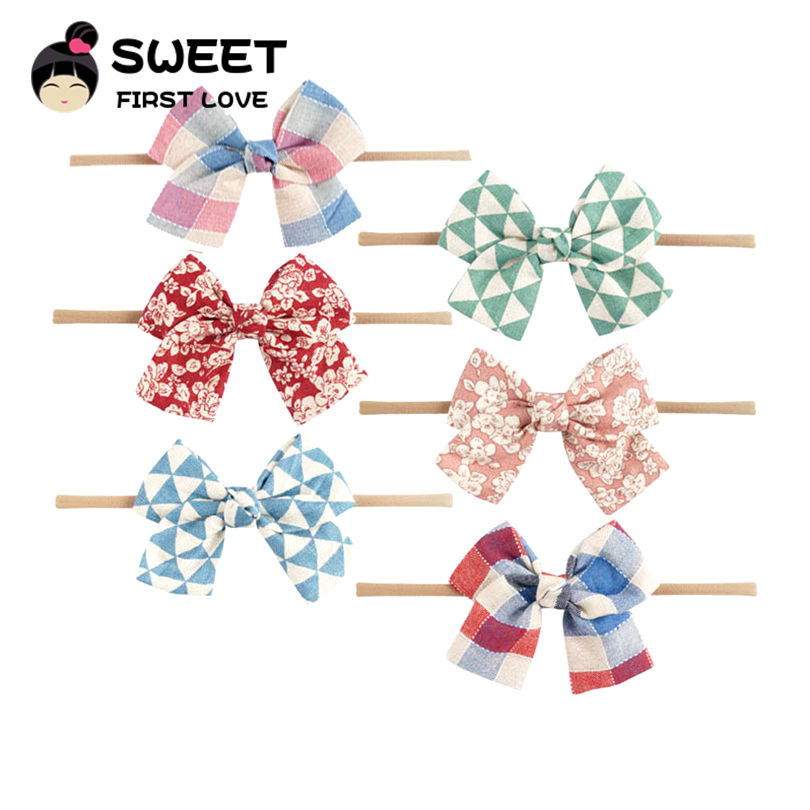 Printed Nylon Bow Headbands Cute Flower Hair Accessories For Girls Soft Fabric Hair Bows Simple Customized Elastic Headbands