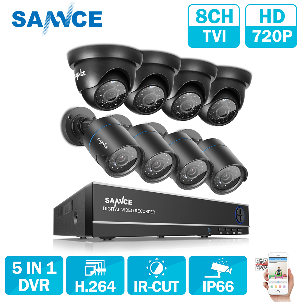 SANNCE 8CH CCTV Camera System AHD CCTV DVR 8PCS 1MP IR Outdoor Security Camera 720P 1200 TVL Camera Bullet Dome Surveillance KIT h view 8ch cctv system 720p hdmi ahd 8ch cctv dvr 8pcs 1 0 mp ir security camera 1200 tvl cctv camera surveillance system