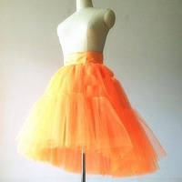 Hot Orange 2018 High Low Tulle Skirts For Women To Party Pleated Ribbon Satin Waistband Knee Length Tutu Skirt Zipper Saias