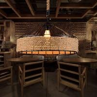 Rope chandelier Kitchen Dining room Restaurant Bar Coffee wicker pendant lamp Iron Lamp Shades Loft Industrial lampe suspension