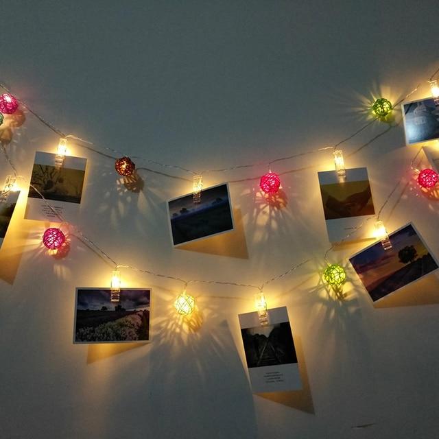 Fashion home decorative 20 led sepaktakraw photo clip lamp string lights garden party decoration night lights