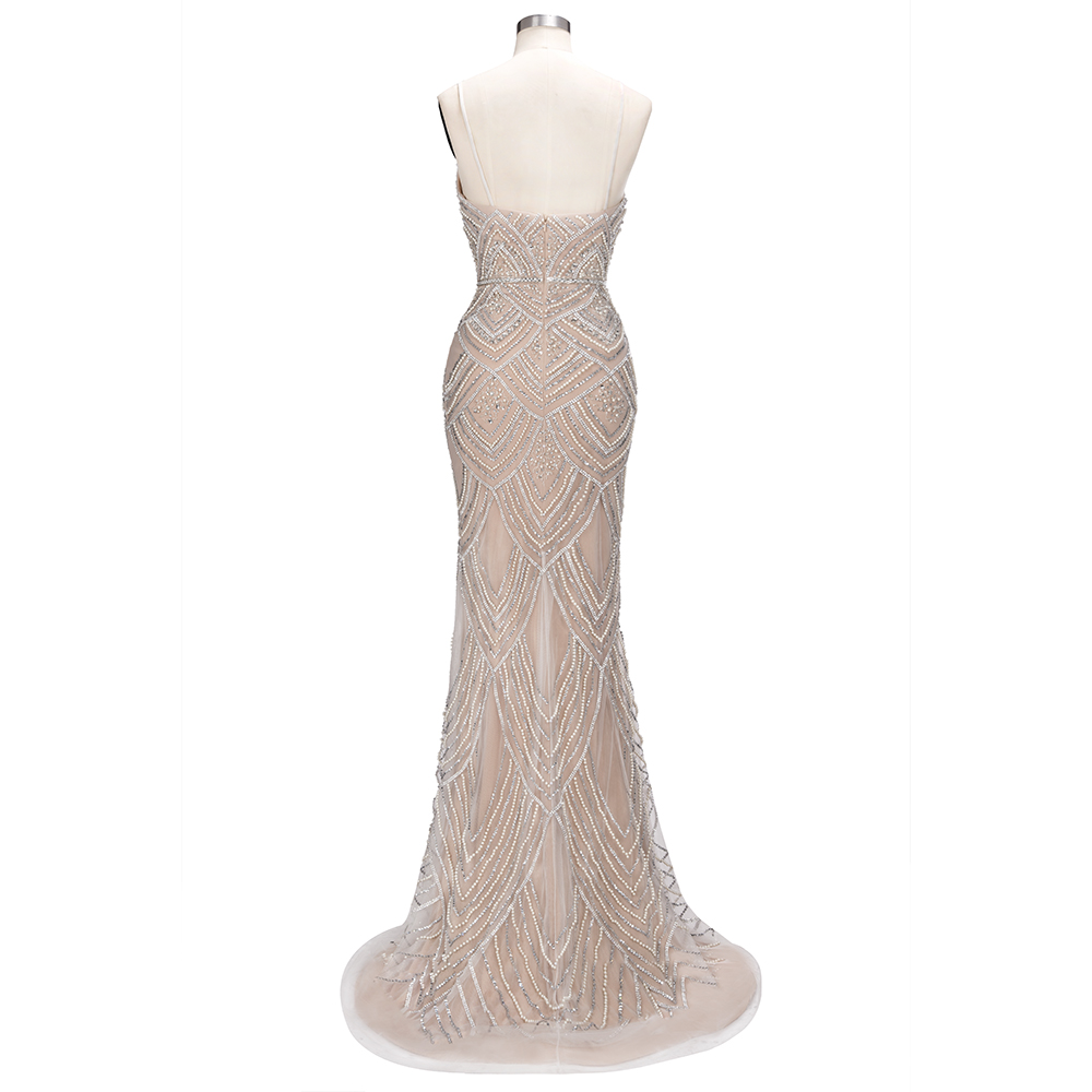 Image 4 - Luxury Dubai Beaded Pearls Mermaid Evening Dresses 2019 Spaghetti Straps Backless Formal Evening Party Dresses Gowns For Women-in Evening Dresses from Weddings & Events