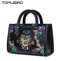 TOMUBIRD 2017 New Superior Cowhide Leather Designer Painted Embossed Handmade Leather Tote Genuine Leather Handbags