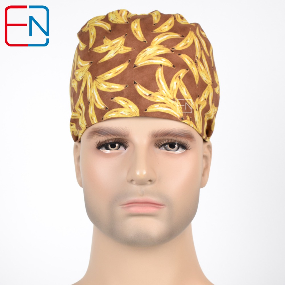Hennar Scrub Caps For Men With Sweatband 100% Cotton New Medical Surgical Caps Accessories Adjustable Bananas Pattern Cap Unisex