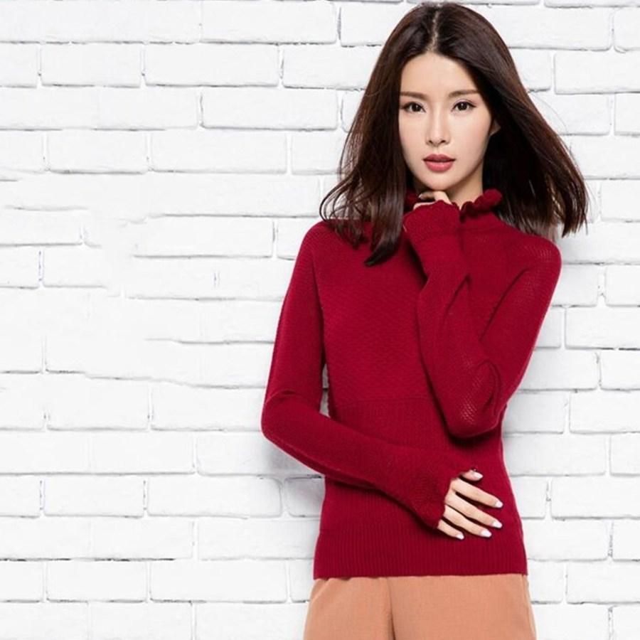 Mixte Longues Femmes Tricoté Nouveau Printemps Et Mode Automne Laine Avec Coréenne Beige red Chandail Chemises Mince De black Manches À wZqqxv