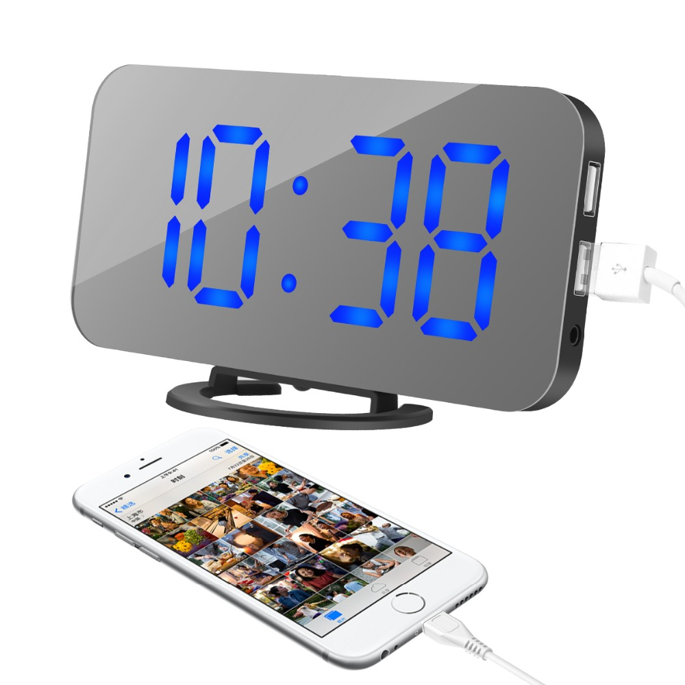 New Blue Backlight Digital Alarm Electronic Desktop Table Led Clock Watch Snooze Reloj Led Displays Time Electronic Adapter Tool Computer & Office