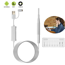 Endoscope Camera 3.9mm 1.3MP Mini 3 in 1 Ear Cleaning USB Endoscope LED Visual Ear Spoon Otoscope Camera TYPE-C android windows цена