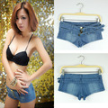 Sexy Women Double Belt Button Hot Shorts Sashes Vintage Mini Short Jeans Booty Summer Fashion Disco Shorts Club Party Erotic F35