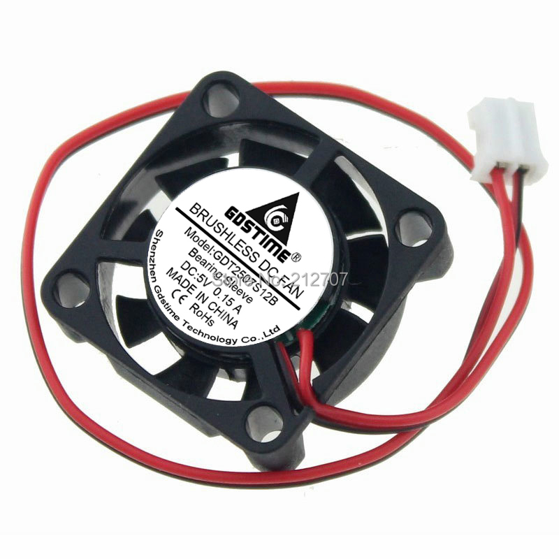 100 Pcs 5V Mini 25mm 25x25x7mm Brushless Cooling Cooler Fan 0.15A 2pin 7mm 2507S