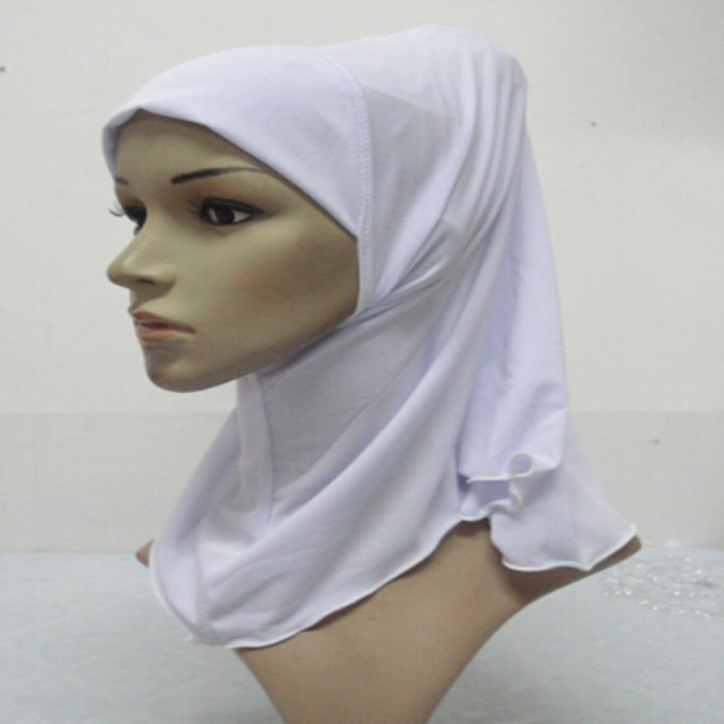 H922 plain small girl hijab can order one dozen all white free shipping