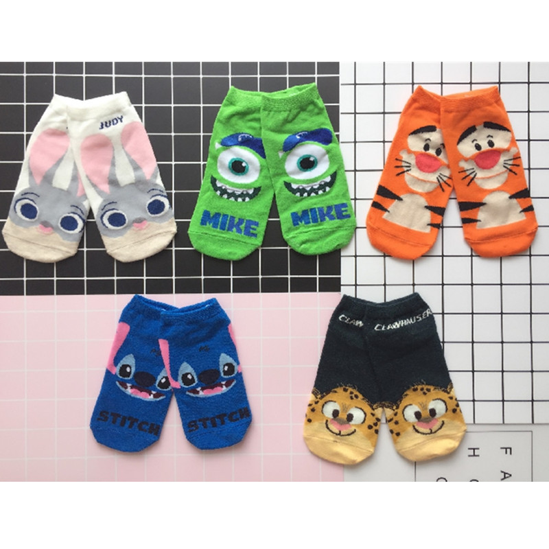 5Pairs/lot Cartoon Animal Print Socks Zootopia Judy Police Officer Rabbit Stitch Leopard Film Theme Women Socks Funny