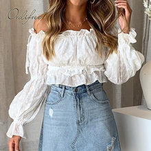 Ordifree 2019 Summer Women Off Shoulder Blouse Top Long Sleeve White Lace Embroi