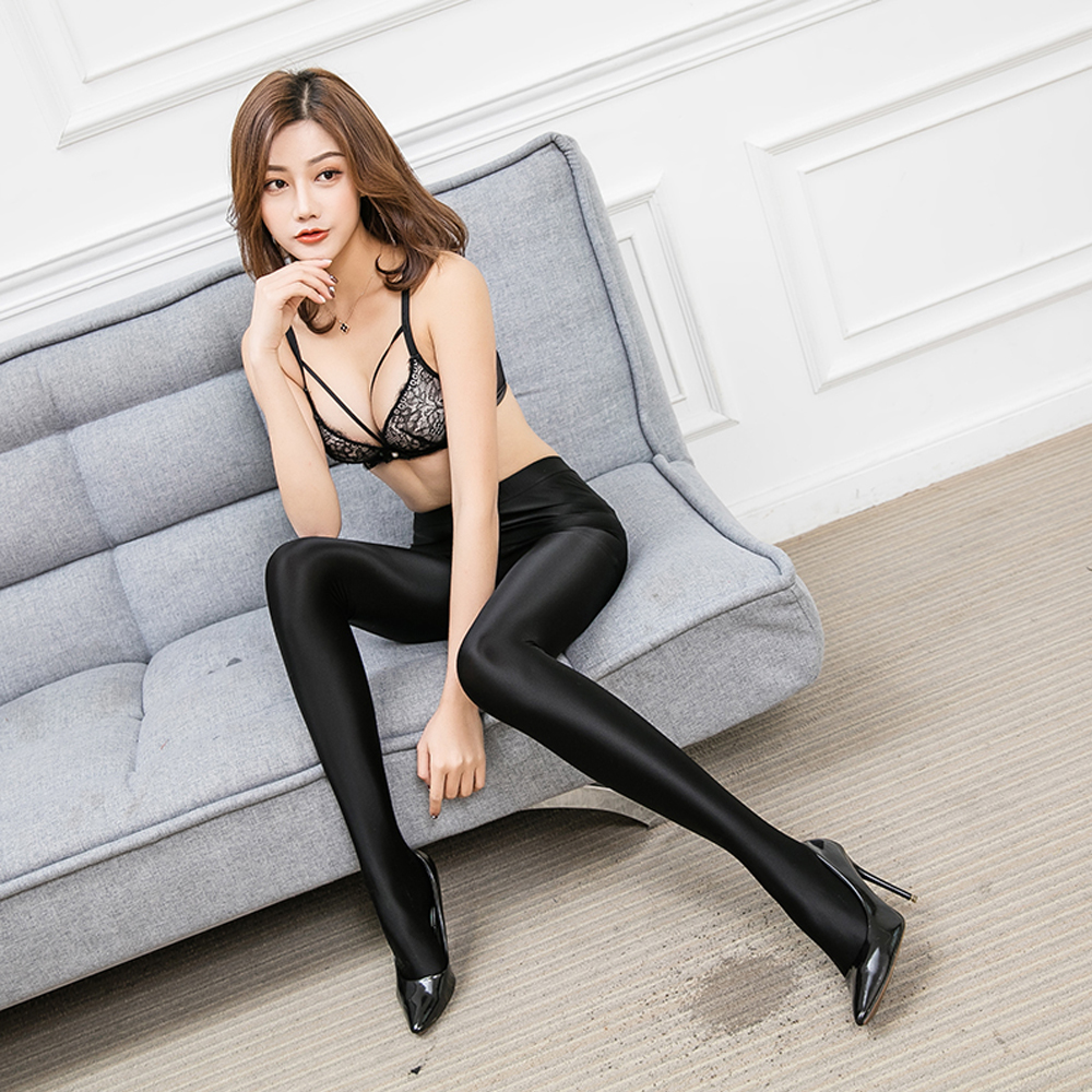 DROZENO Women Tights Femme oil glitter tights high waist tights ladies shiny pantyhose Winter Warm Pantyhose Tights rib knit tights